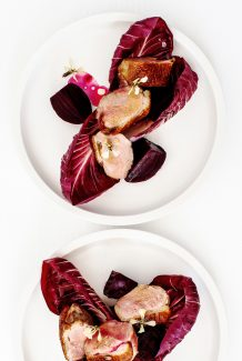 Tabel Catering Roast duck, pickled cherries, candied walnuts, witlof
