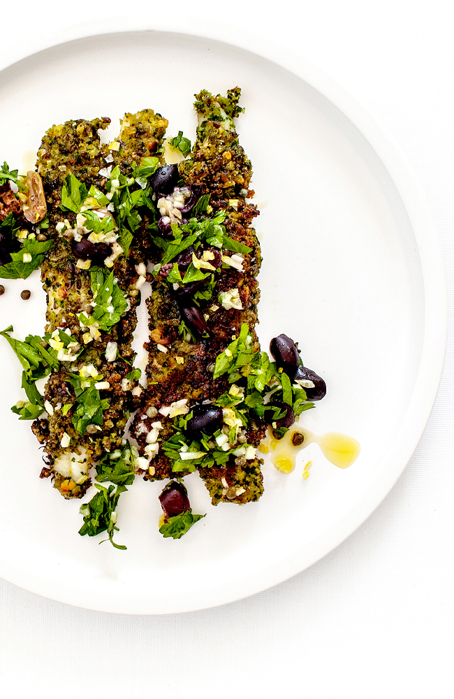 Tabel Catering Parmesan and parsley crumbed SA King George whiting, olives, capers